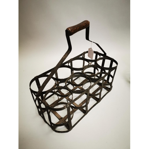 53 - Two early 20th C. metal bottle carriers {38 cm H x 41 cm W x 20 cm D and 38 cm H x 24 cm W x 20 cm D...