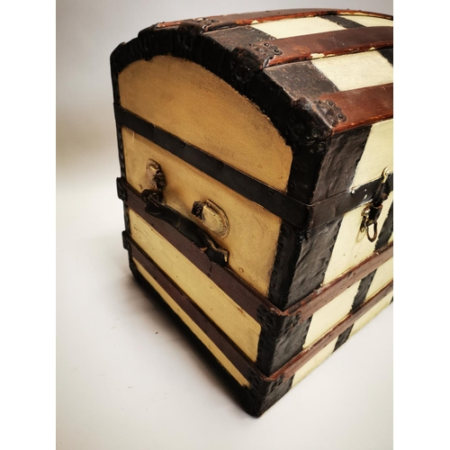 57 - Early 20th C. dome topped metal bound travelling trunk {60 cm H x 81 cm W x 50 cm D}.