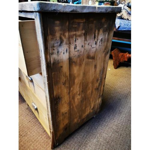 58 - Good quality bank of fifteen stripped pine drawers {90 cm H x 266 cm W x 51 cm D}.