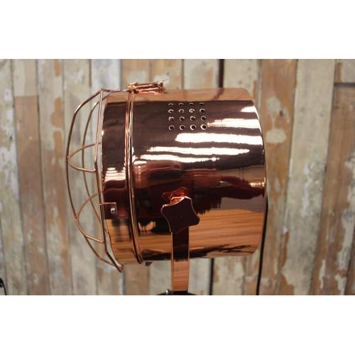 1 - Pair of copper head spot lights mounted on tripod stands. {150 cm H x 50 cm W x 50 cm D}...