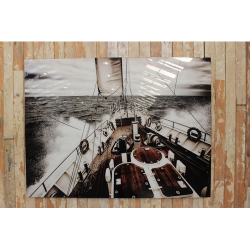 16 - Modern marine scene of yacht deck printed on glass. {128 cm H x 168 cm W}....