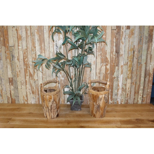 2 - Pair of wooden well buckets. {65 cm H x 40 cm Diam}...