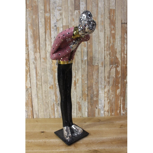 20 - Mosaic glass figure of a Man in retro style. {150 cm H x 47 cm W x 54 cm D}...