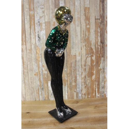 21 - Mosaic glass figure of a Woman in retro style. {150 cm H x 47 cm W x 54 cm D}...