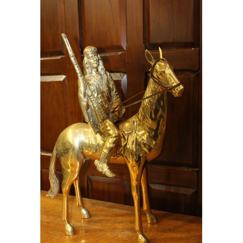 26 - Brass model of horse with Indian Chief. {67 cm H x 58 cm W x 20 cm D}...