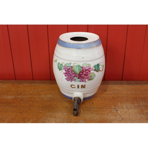 31 - 19th C. ceramic Gin dispenser decorated with grapes. {33 cm H x 390 cm W x 40 cm D}...