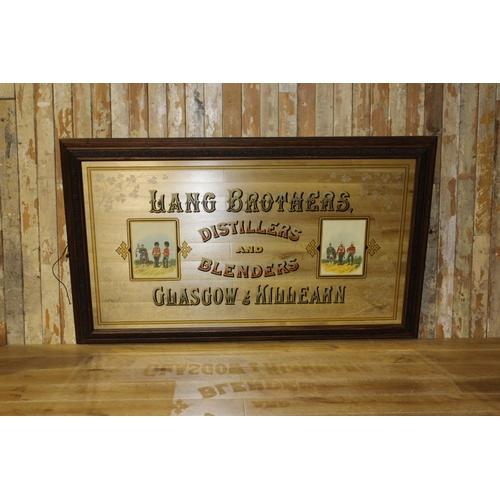 41 - Lang Brothers Distillers and Blenders Glasgow Killeran pictorial advertising mirror. { 110 cm H 117 ...