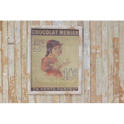 47 - Chocolat Menier pictorial advertising print mounted in painted frame. { 100 cm h x 89 cm W}...