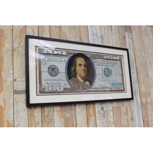 49 - Framed $100 print. { 50 cm h x 100 cm W}....