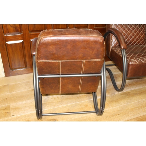 50 - Pair of leather upholstered metal armchairs in the Retro style. { 80 cm H x 63 cm W x 80 cm D}...