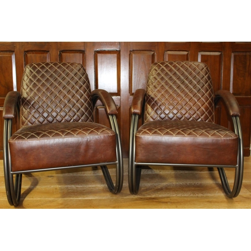 53 - Pair of leather upholstered metal armchairs in the Retro style. { 80 cm H x 63 cm W x 80 cm D}...
