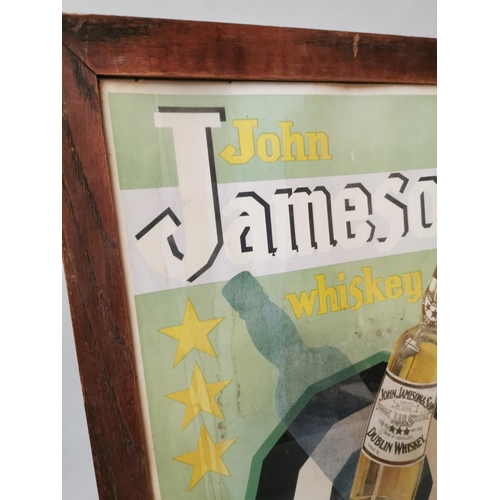 56 - John Jameson Whiskey framed whiskey advertising print {78cm H X 56cm W}...