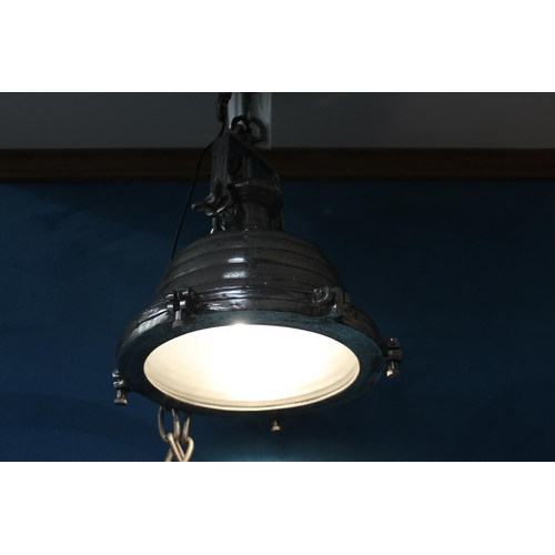 58 - Pair of nickel industrial downlighters . { 50 cm H x 40 cm Diam with 100 cm chains}...