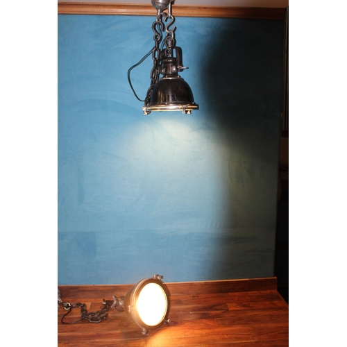 59 - Pair of nickel industrial downlighters . { 45 cm H x 30  Diam with 100 cm chains}...