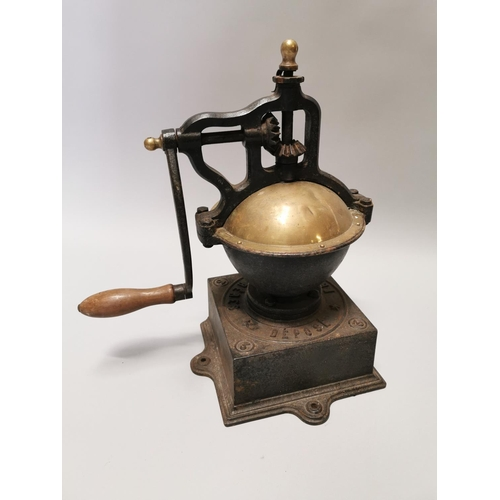 15 - Early 20th C. brass and cast iron coffee grinder { 47cm H X 40cm W X 23cm D }.