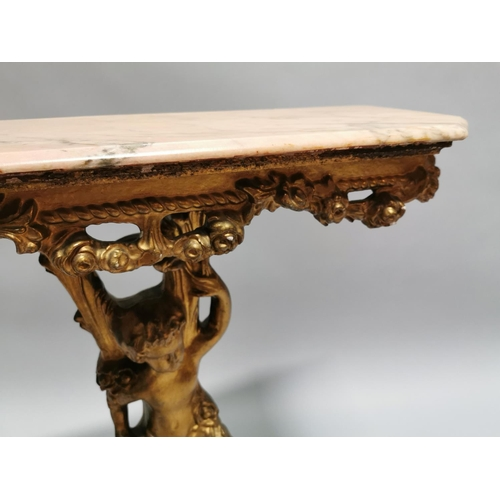 2 - Decorative  giltwood console table with marble top { 80cm H X 75cm W X 26cm D }.