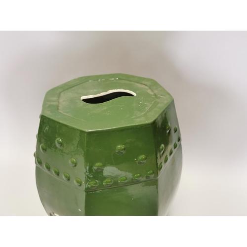 20 - 19th. C. glazed ceramic garden stool. { 52cm H X 31cm Dia }.