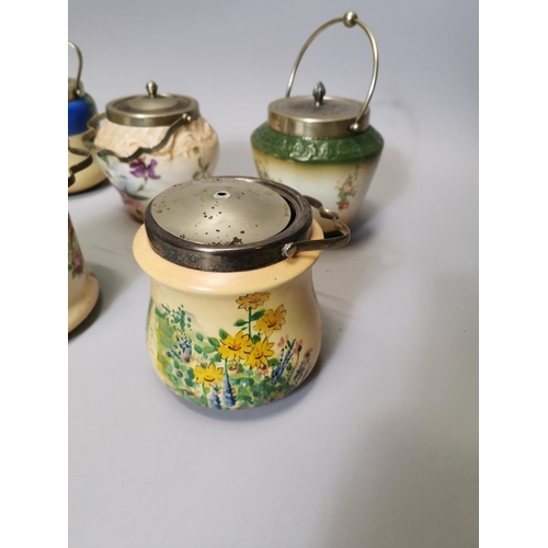 22 - Collection of seven late 19th C & early 20th C ceramic biscuit barrels