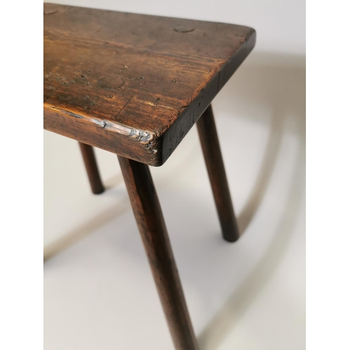 27 - 18th. C. elm stool. { 44cm H X 39cm W X 30cm D }.