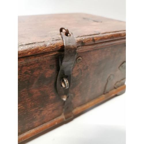 28 - 18th. C. oak carpenter's tool trunk. { 19cm H X 42cm W X 26cm D }.