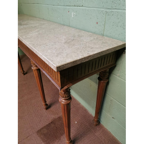 29 - Late 19th. C. walnut server, the marble top above the frieze with a centre plaque decorated with swa...
