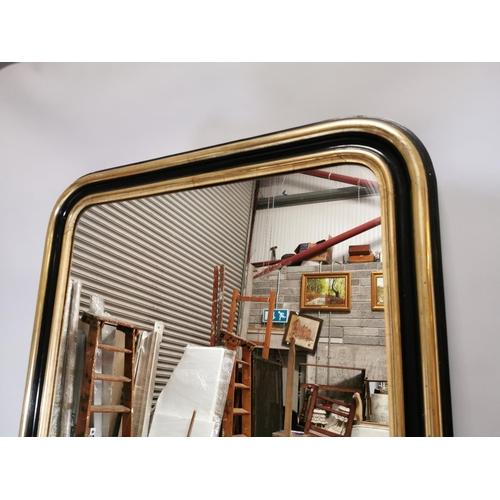 31 - 19th. C. ebonised and gilt wall mirror. { 212cm H X 110cm W }.