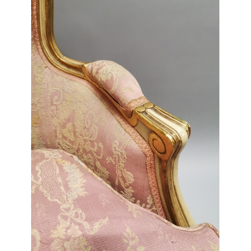 4 - 19th. C. upholstered giltwood armchair raised on Queen Ann style legs { 94cm H X 124cm W X 57cm D }.