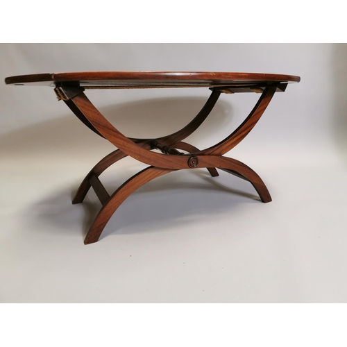 42 - Mahogany and brass coffee table in the form of a butler's tray on stand { 48cm H X 100cm W X 68cm D ...
