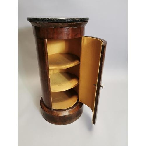45 - 19th. C. circular mahogany locker with marble top. { 74cm H X 37cm Dia }.