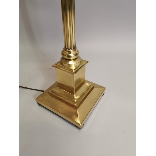 46 - Brass standard lamp with Corinthian column and shade { 167cm H }.