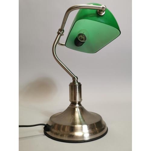 49 - Chrome and glass banker's desk lamp. { 34cm H X 26cm W X 20cmD }.