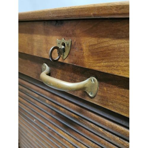 5 - Early 20th. C. oak filing cabinet with tambour door. { 120cm H X 66cm W X 65cm D }.