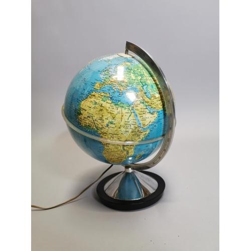 52 - World globe in the form of a desk lamp. { 37cm H X 26cm Dia }.