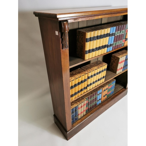 55 - Mahogany open floor bookcase { books not included } { 122cm H X 116cm W X 30cm D }.