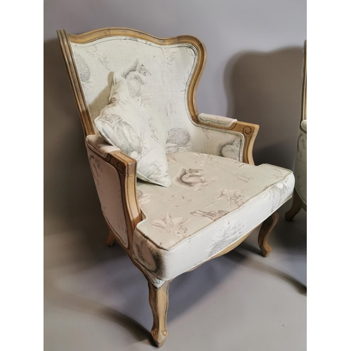 58 - Pair of upholstered oak armchairs, in the French style. {  98cm H X 73cm W X 73cm D }.