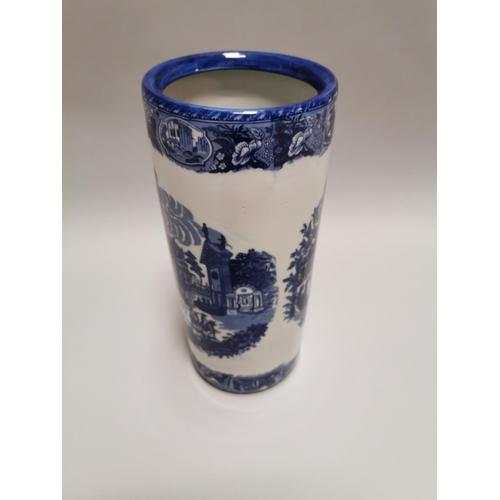 8 - Blue and white ceramic stick stand { 44cm H X 20cm Dia }.
