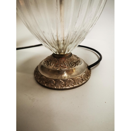 13 - Good quality glass and silver plate Laura Ashley table lamp with shade. (needs rewiring). { 55 cm H ...
