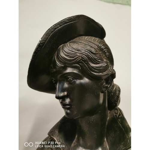 14 - Plaster bust of a French lady {58 cm H x 32 cm W}.