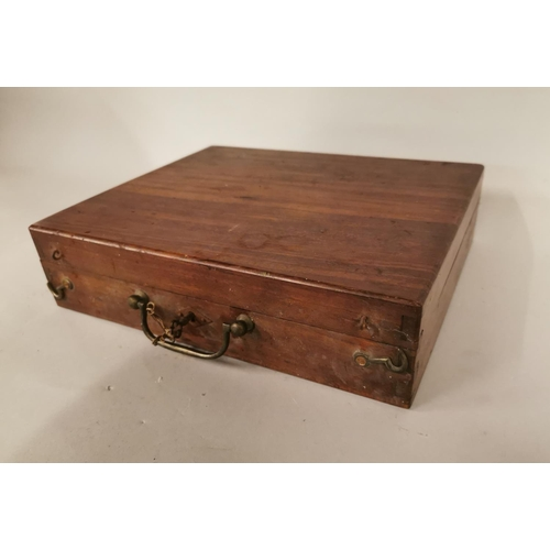 17 - 19th C. mahogany artist box containing original paints and brushes {8 cm H x 31 cm W x 26 cm D}.