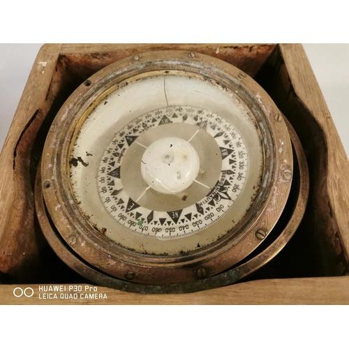 18 - 19th C. ship's compass {15 cm H x 30 cm W x 30 cm D}.