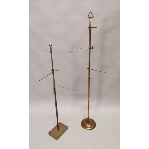 26 - Two early 20th C. brass haberdashery shop hat stands {132 cm H and 104 cm H}.