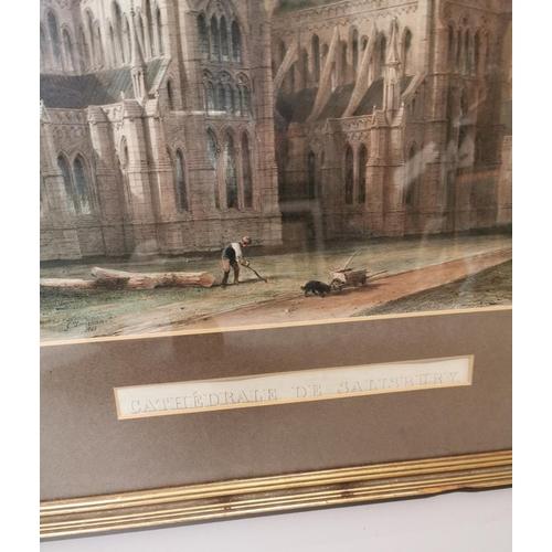 37 - 19th C. framed coloured print of Salisbury Cathedral {88 cm H x 74 cm W}.