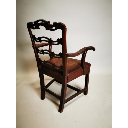 39 - Irish Georgian mahogany ladder backed carver with square legs and leather upholstery. { 98 cm H x 69...