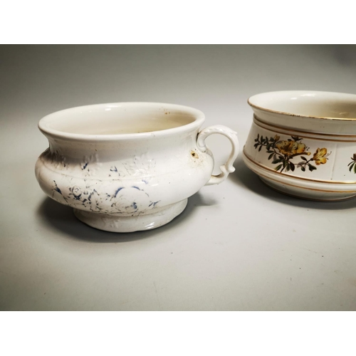 9 - Two early 20th C. ceramic chamber pots  { 14 cm H x 23 cm Diam approx.}.