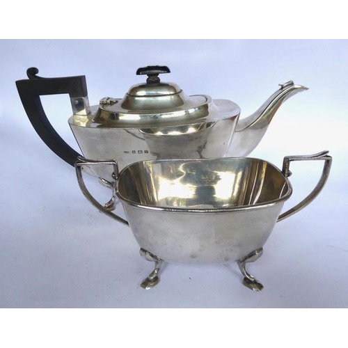 12 - Plain rectangular silver teapot, with Bakelite handle and finial, and matching silver sugar bowl, on...