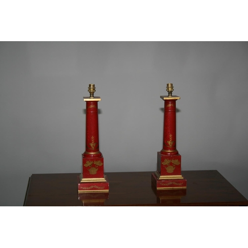 16 - Pair of Japanned occasional lamps of tapering column form 13 W x 45 H x 13 D