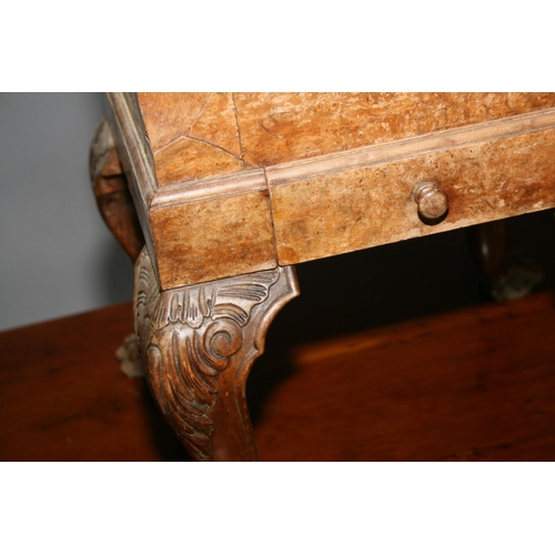 17 - Quality 19th Century amboyna and walnut planter. Top with canted corners standing on cabriole legs 3...