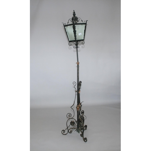 19 - Wrought iron and copper telescopic lamp with lantern top 40 W x 90 H