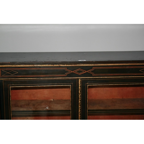 22 - Victorian two door side cabinet mainly ebonised with amboyna inlay throughout and ormolu mounts (som...