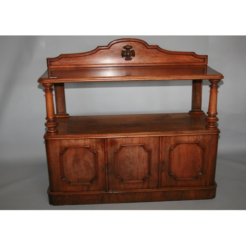23 - Fine Victorian mahogany dumb waiter, the top on pillar support above three door cupboard base 135 W ...